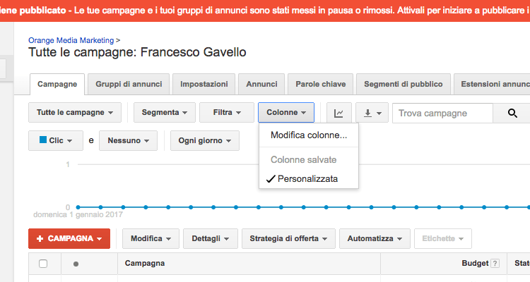 Modificare le colonne in Google AdWords