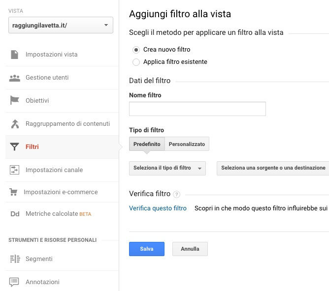 Come applicare un filtro a una Vista in Google Analytics